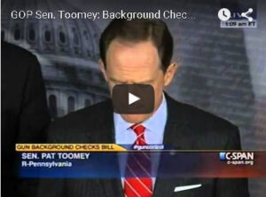Toomey Pushes Background Checks on Gun Control.