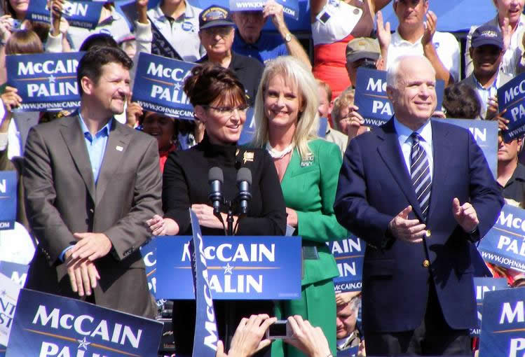 Rah, Rah, Rah for gun control! Notorius Anti-Gunners Sarah Palin and John McCain Whoop it Up for Crowds of Cheering Neo-Cons.