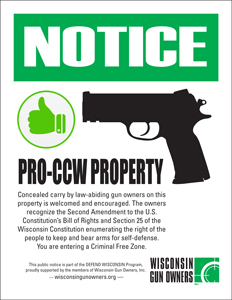 Wisconsin Pro-CCW Signs