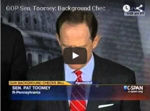 Toomey Pushes Background Checks on Gun Control.